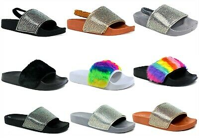 New Girls Ladies Sliders -Indoor/Outdoor Soft Fur Strap Slipper Flat Mule SlipOn