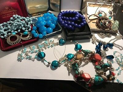 Vintage Job Lot Of Blue Costume Jewellery Items Lucite Glass Natural Stone