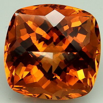 24.9Ct. Glittering!!! Madeira~Honey Orange Citrine Cushion With Fancy Table