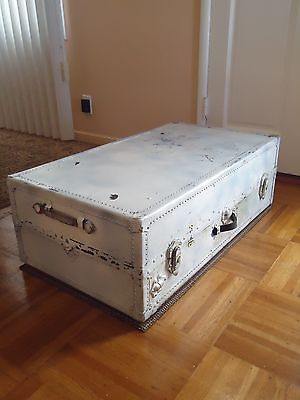 Vintage Solid Steamer Trunk Travel Chest -  Free Shipping