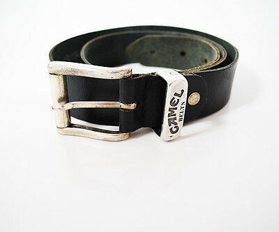 Vintage Camel Belts Mens Leather Belt Black