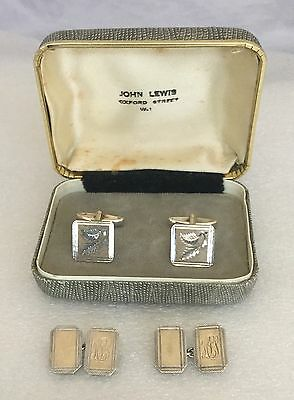 2 Pairs Of Vintage 9Ct Gold On Silver Cufflinks, One Pair Boxed John Lewis