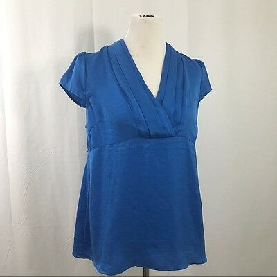 Motherhood Blue Maternity Empire Blouse Top Short Sleeved Shirt M