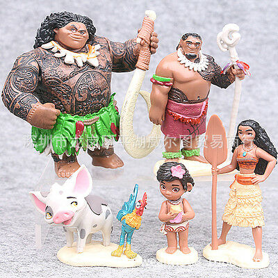 6pcs Movie Moana Princess PVC Action Figures Cake Toppers Doll Set Kids Toy Gift