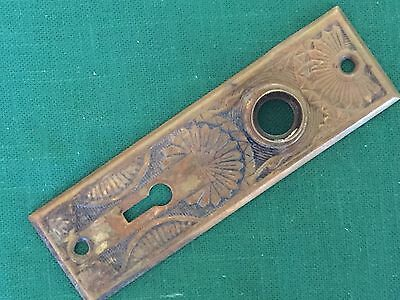 Antique Victorian Stamped Brass Or Bronze Doorknob Backplate - Escutcheon Plate