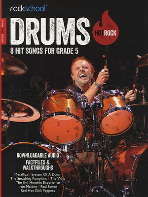 Rockschool Drums Hot Rock Grade 5 Sheet Music Book with Audio Exams Tests