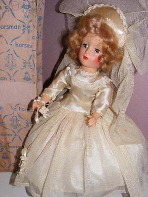 "Vtg DOLL ROBERTA or SWEET SUE Satin Wedding Dress 14"" Horseman Box"