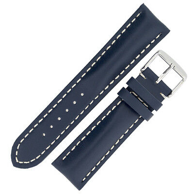 Breitling Style Calfskin Leather Padded Watch Strap and Buckle in BLUE
