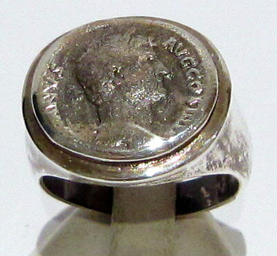 Imposing Roman Style Antique Silver Ring W/ Portrait Of Emperor Hadrian # 685