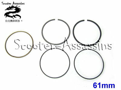 61mm BIG BORE REPLACEMENT RIK PISTON RINGS for GY6, 157QMJ, 152QMI etc