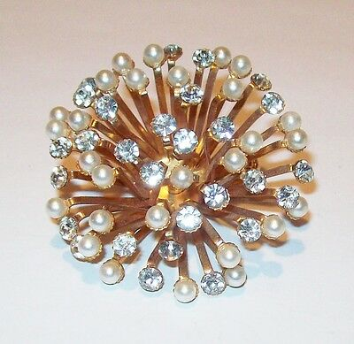 Vtg 1950's Large Dome Hydrangea Mum Pin Pearl Rhinestone Flower Bridal Jewelry