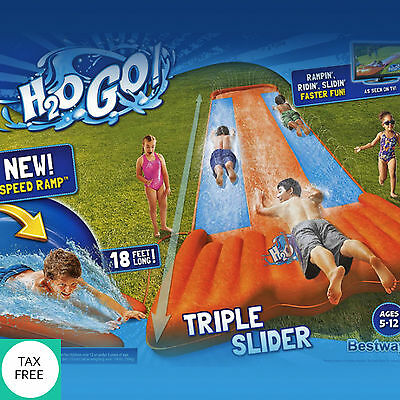 Triple Slip and Slide Wave Rider Inflatable Kids Water Toy Long Yard Playground