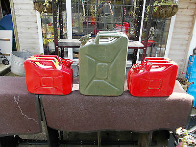 2 x 10 Litre Metal Jerrycans (Red) and 1 x 20 Litre Metal Jerrycan (Green)
