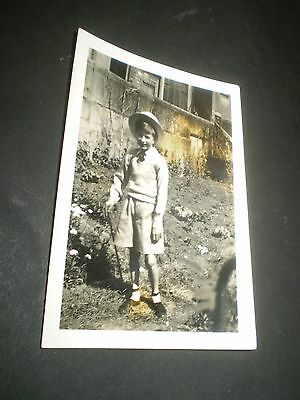 social history 1930's cute boy in hat with stick fashion photograph 3.3'inch 2