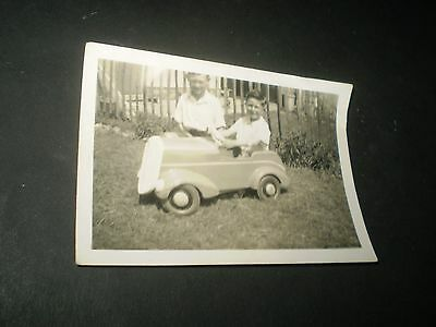 social history 1930's cute boys toy pedal car fashion photograph 3.3'inch