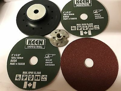 Choice of Grit,  KEEN Resin Fibre Sanding Disc Kit, 4 In, 54045 (46/Pack)