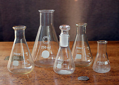 5 x Vintage Pyrex Science Laboratory Glass Conical Flask Flat 250 100 50 25