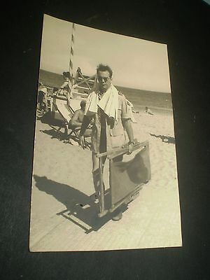 social history 1940's seaside fashion man deck chair 1946 photograph 6x4