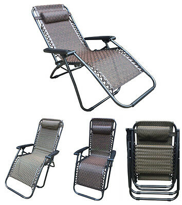Textoline Folding Sun Lounger Reclining Gravity Garden Chair Relaxer Chairs