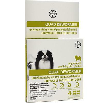 Bayer Expert Care Broad Spectrum Quad Dewormer Small Dogs 4 Tablets Made In Usa