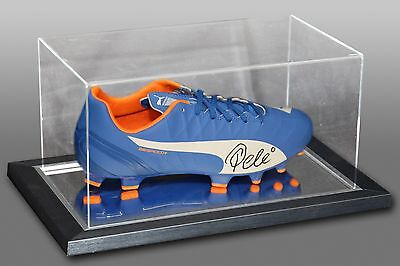 *New* Pele Signed Blue Puma Football Boot Presented In An Acrylic Case