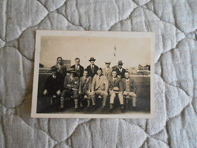 England Rl Rare B/w Photo Of 11 Players In Suits Taken On Australia Ground 1924