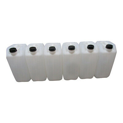 6 X 25 Litre New Plastic Bottle Jerry Can Water Chemical Fuel Food Safe 70Mm