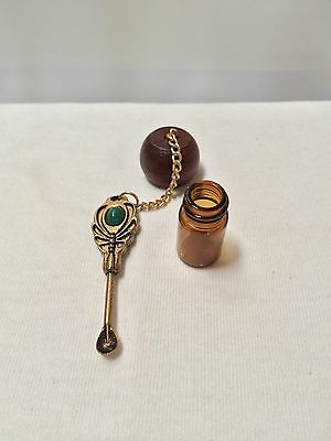 Victorian Butterfly Turquoise color Stone spoon tobacco snuff vial screw top