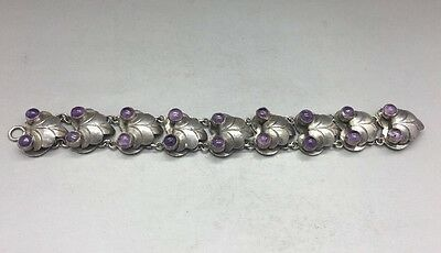 Lovely Mexico Sterling Silver & Amethyst Bracelet! Amethyst Stone Accents! 7.5""