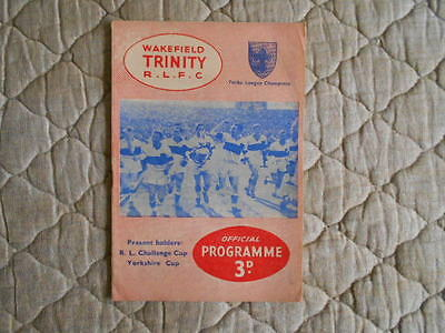 1960/61 Wakefield Trinity V Hull Kr Rugby League Match Programme