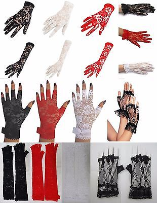 Pair Of Lace Occasion Gloves, Fingerless, Full Hand, Long, Short, Party, Costume