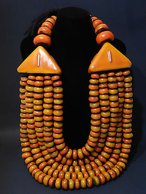LARGE African Berber Resin Beads Ethnic tribal jewelry Necklace from Morocco
