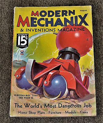 VTG August 1935 Modern Mechanix & Inventions Magazine VG