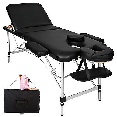 Lightweight Portable Aluminium Massage Table  Bench Therapy Beauty black + bag