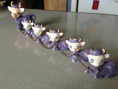 Chained Family of Purple Cows Vintage Japan