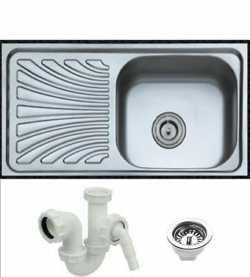 Single Bowl Stainless Steel Kitchen Sink with free compete Plumbing Kit-Polished