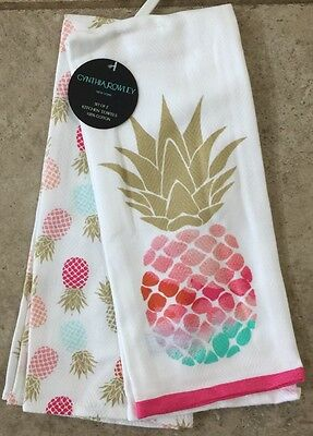 Cynthia Rowley Pink Tropical Pineapple Dish Towels Kitchen Towels Set Of 2