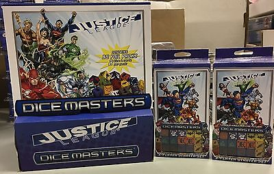 Dice Masters JUSTICE LEAGUE LOT - 90pc Gravity Box, 2x starter sets - NEW
