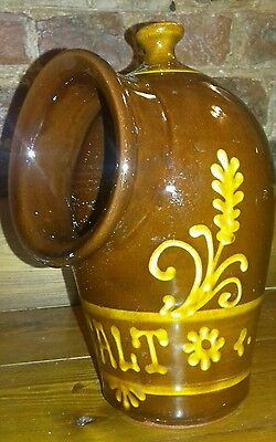 Yellow and brown marbled slip glaze salt pig 19th Century