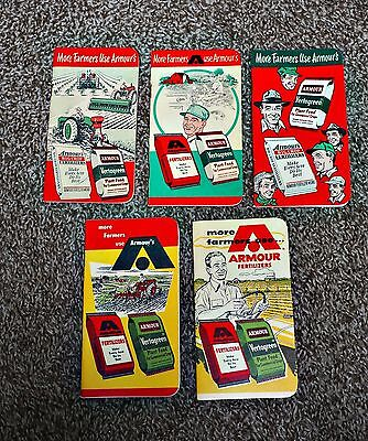 5 ARMOUR'S FERTILIZERS WORKS Memo Notepads w Calendars 1952 1953 1954 1956 1958