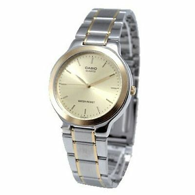 Casio Mens MTP1131G-9A Two-Tone Gold Stainless Steel Dress Watch GOLD Dial NEW