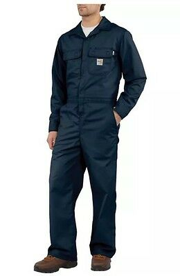 Carhartt Mens Flame Resistant Traditional Twill Coverall Dark Navy Size 34 NWT