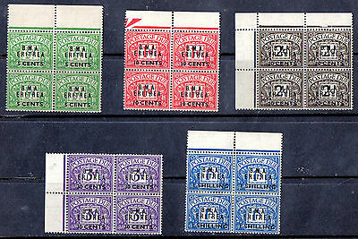 1948 BMA Eritrea Dues Blocks MNH KGVI GB Overprints NO RESERVE PRICE