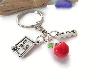 No 1 Teacher themed silver charm keyring leaving school thank you gift favors UK