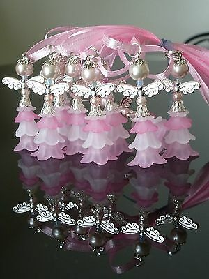 10 Pink ANGELS-Christening/New Baby/Kid's Party charms 40mm,souvenirs, fillers