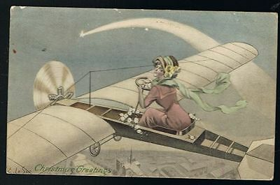 LE SUR, E.-Christmas Greetings Postcard- Lady in Aeroplane & Shooting Star #8597