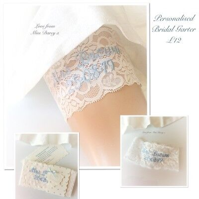 Ivory Lace Bridal Garter Blue Personalised Name Lace Miss Darcy Wedding Brides