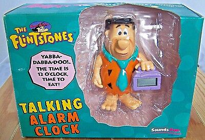 Vintage Hanna-Barbera The Flintstones Fred Talking Alarm Clock By Sounds Fun New