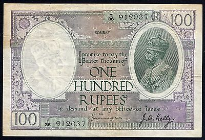 India 100 Rupees * gVF * Pick 10c Bombay George V / Great Britain