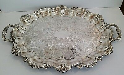 """Vintage Sheffield Silver Plate Handled Tray Reed & Barton Co. USA 22 x 16.5"""""""
